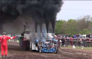 Slædehunden pulling tractor