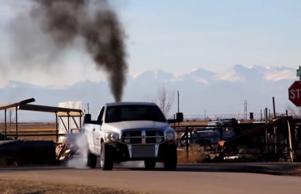 massive 6.7 cummins diesel burnout
