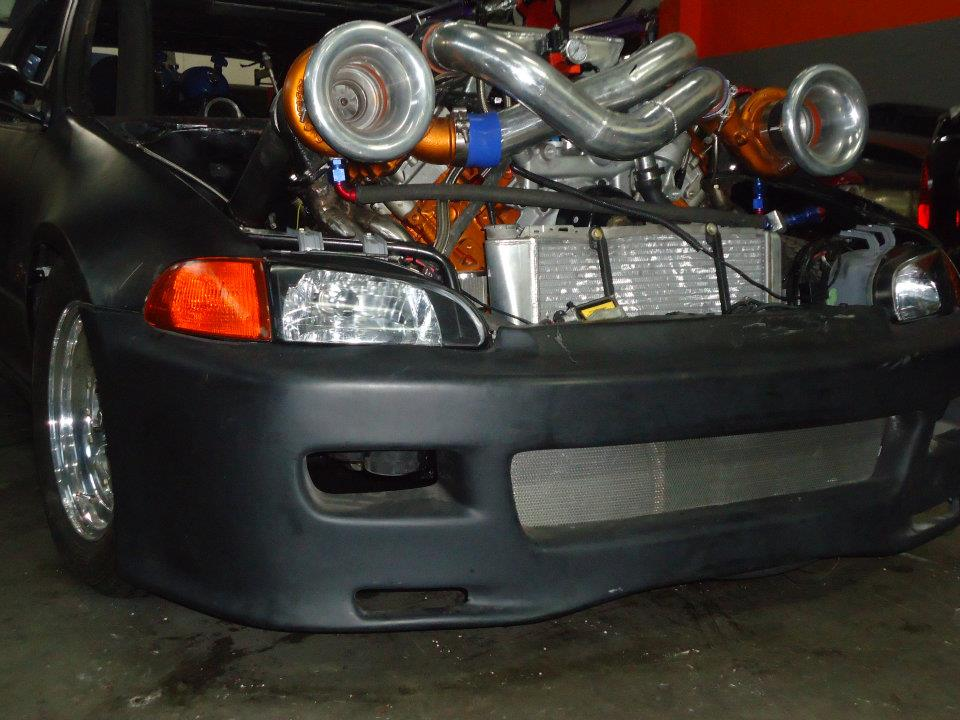 twin turbo  powerstroke civic hatchback swap black smoke media