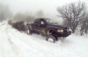 lifted cummins in the snow