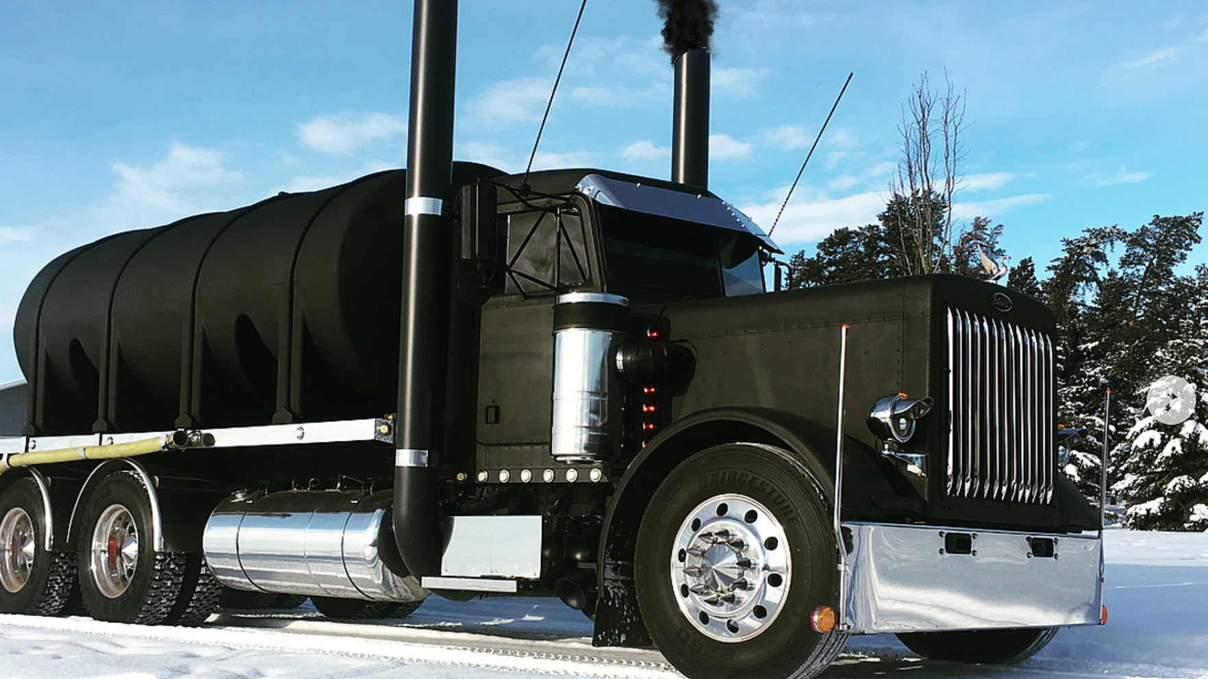 This Black Peterbilt Playing In The Snow Is The Sexiest