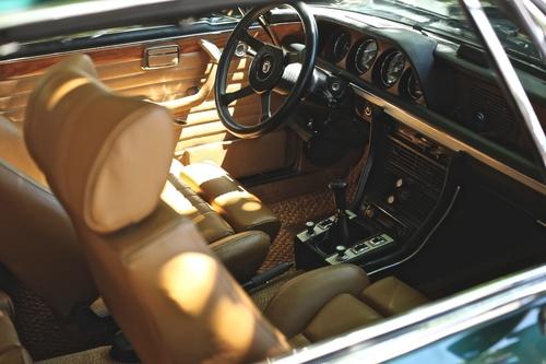 Brown and black car interior